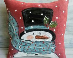 Scarf and Snowman, Winter, Holidays, Christmas, Hand-painted, Fun, Indoor or Outdoor,  Handmade, Pillow Cover, No. 505