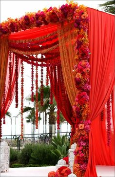 Red Mandap, could also function as a Chuppah for Multicultural Wedding! Wedding Arch Flowers, Wedding Mandap, Desi Wedding, Wedding Stage, Purple Wedding, Trendy Wedding, Wedding Bride, Wedding Ideas, Wedding Bouquets