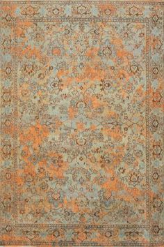 Louis de Poortere Fading Agra Sur Lightblue Orange 8943