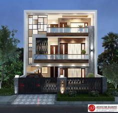 Modern Villa Design, Modern Exterior House Designs, Exterior Design, Front Elevation Designs, House Elevation, Bungalow House Design, Interior Designing, Facade Architecture, Building Plans