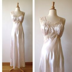 40's WW2 Lace Nightgown with Appliqués