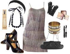 Charleston-Kleid mit Accessoires