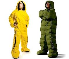 The Wearable Sleeping Bag: It's the ultimate onesie for fashionable winter wear. The Wearable Sleeping Bag, its warm, comfortable, and it's designed for maximum manoeuvrability.  The Wearable Sleeping Bag is an excellent solution for those who are uncomfortable in traditional mummy or rectangular sleeping bags.