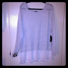 NWT Silver Long Sleeve Top NWT. Great for work or a night out. a.n.a Tops