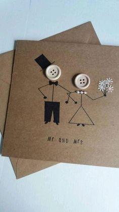Wedding Anniversary Greeting Cards, Wedding Day Cards, Wedding Card Messages, Anniversary Crafts, Wedding Cards Handmade, Greeting Cards Handmade, Quirky Wedding, Trendy Wedding, Button Cards