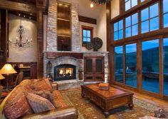 lodge style living room love the windows