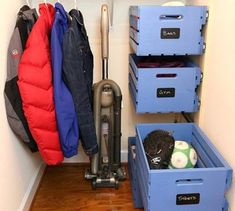 16 Brilliant Ways to Squeeze So Much More Into Your Closet Give your closet a nice organizational boost with these 16 inspirational ideas for better storage. Hanging Shoe Organizer, Hanging Bar, Crate Storage, Diy Storage, Storage Ideas, Closet Storage, Closet Organization, Diy Cleaning Products, Cleaning Diy