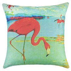 Flamingo Pillow #seasidedecor