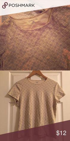 Croft & Barrow | Crew Neck Tee Ultra soft 100% Pima cotton, gently worn, no damage. Light beige/cream color with a dark geometric print. croft & barrow Tops Tees - Short Sleeve