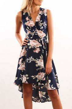 Alina Dress Navy Floral