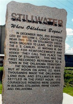 Oklahoma Centennial - Stillwater, OK. This red granite historical marker is located in a small park on the Northwestern corner of the intersection of 6th St (Highway 51) and Perkins Rd in Stillwater, OK.  It commemorates the 100th anniversary of the Oklahoma Land Run and the original town site of Stillwater.