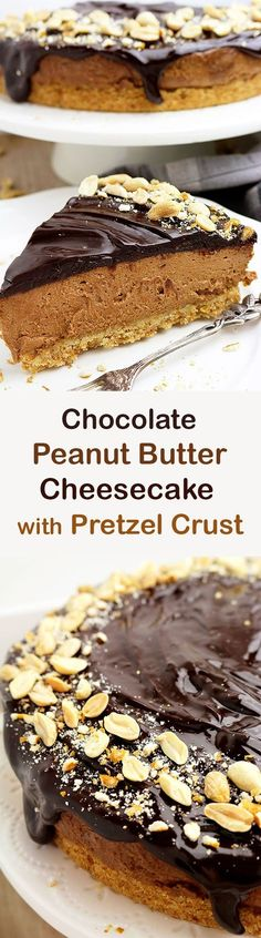 Chocolate Peanut Butter Cheesecake with Pretzel Crust - simple, quick and tasty special dessert, perfect for any occasion.You can make it for Father's Day ♥️