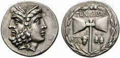 Ancient Illyrian silver coin, with the head of Zeus/Hera on the obverse; double headed axe on the reverse