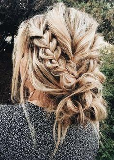 pulled braids into messy buns | long hair ideas | blonde hair ideas