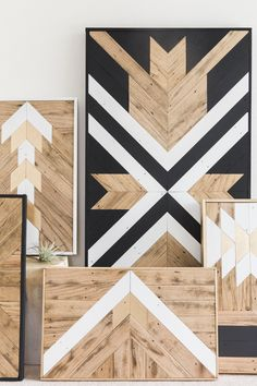 The new AIMM collection is here! Reclaimed wood wall art that can be described as geometric, tribal, rustic or modern. Fun black, white and gold colors too!