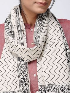 Ivory-Black Block-printed Cotton Stole Block Prints, Printed Cotton, Online Printing, Chevron, Ivory, Blazer, Jackets, Stuff To Buy, Fashion