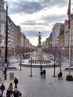 Plaza España y paseo la Independencia de Zaragoza España.