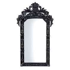 Patterned Black Glass Mirror
