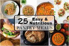 25 Easy and Nutritious Pantry meals includes everything from pastas to soups, curries, and home made breads made with everyday essential pantry items. Easy Bread Recipes, Easy Dinner Recipes, Cooking Recipes, Healthy Recipes, Freezer Recipes, Savoury Recipes, Fun Recipes, Pumpkin Pasta Sauce, Canadian Food