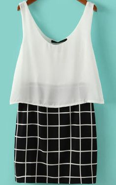 604b09ada90 Shop White Black V Neck Plaid Bodycon Dress online. SHEIN offers White  Black V Neck Plaid Bodycon Dress   more to fit your fashionable needs.