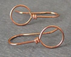 Handmade Copper Earwires, Earring Findings, Big Loop Wild West, 2 pairs - Made in USA