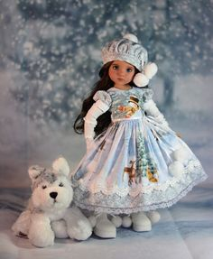 """""""Snowfall in the Woods"""" Dress Outfit for 13"""" Dianna Effner Little Darling 6 Pc #LuminariaDesigns"""
