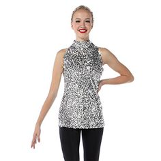 Varsity Tunic Dance Costume TOP ONLY Color Choice Foil Sequin Child /& Adult New