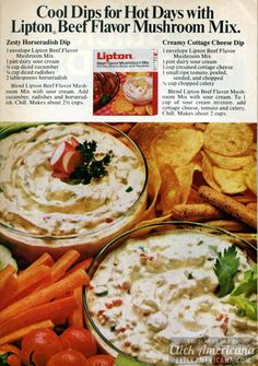 Zesty Horseradish Dip & Creamy Cottage Cheese Dip (1972)