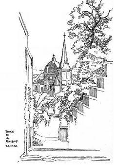 Liège, Thier de la Fontaine   por gerard michel Art Altéré, Pen Art, Artist Art, Illustration Sketches, Illustrations, Art Sketches, Pencil Sketch Drawing, Hand Sketch, Perspective Sketch