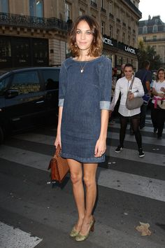 weekend chic:  Alexa Chung in Stella McCartney casual denim shift dress ... seen in August 2013 Lucky Mag