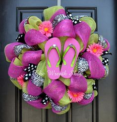 Summer Flip Flop Wreath in Lime Green, Hot Pink, and Black and White Zebra and Polka Dot by The Wreath.