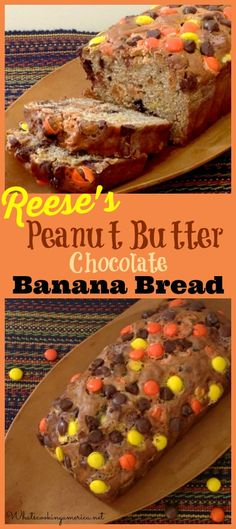 Reese's Peanut Butter Chocolate Banana Bread Recipe    Definitely crosses the line into desserts rather than breakfast territory.  I little dry, but good flavor.  Makes 2 loaves (or you could halve the recipe for 1) 2.5/5
