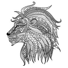 Hand Drawn Lion Coloring Page   Buy This Stock Vector On Shutterstock U0026  Find Other Images.
