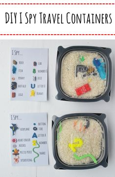 DIY I Spy… Travel Containers- I recently upcycled some Chick Fil A soup containers into a fun I Spy travel game for my sons- Here's how to make your own