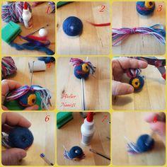 tutorial gemaakt door Atelier naaiz11 voor het maken van een penpoppetje van droogvilt.
