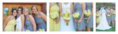Gray and yellow wedding Bridal party shots