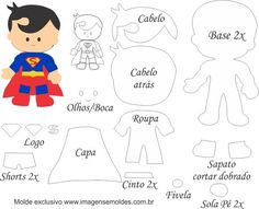 Filz-Superhelden-Vorlagen: Druckfertig – özlem özmen – Join the world of pin Felt Doll Patterns, Felt Crafts Patterns, Stuffed Toys Patterns, Superman Baby, Felt Templates, Printable Templates, Free Printable, Felt Dolls, Sock Dolls