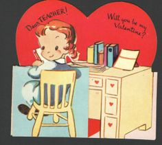 Vintage Teacher Valentines Day Card Child Sitting At Old Wood Desk Books &papers