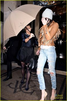 Kendall Jenner makes a fringe fashion statement while catching a departing flight at Charles De Gaule Airport on Tuesday (January 27) in Paris, France.