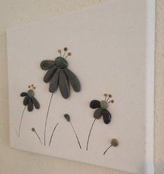Pebble Art/ Flowers/ Canvas Art/ Beach by EmilysNatureEmporium