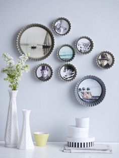What a cute idea for the kitchen or dining room- place photos inside vintage tart pans