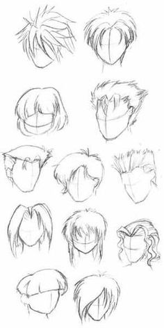 on the style, anime hair can be very complex. However, if you break it down into its basic components, the process of drawing anime hair becomes a little simpler. Guy Drawing, Drawing Skills, Drawing Lessons, Manga Drawing, Drawing Techniques, Drawing Faces, Drawing People, Drawing Tips, Drawing Sketches