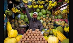 Street photography and daily life pictures from Dhaka, Bangladesh by Maciej Dakowicz - official Fujifilm X-Photographer and UP Photographers member. Fruit Stall, Gypsum Decoration, Dhaka Bangladesh, Ceiling Rose, Exotic Fruit, Street Photographers, Life Pictures, World Market, Fruit And Veg