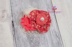 Coral Goddess Coral and Ivory flowers with by FaithLoveKreations, $14.00