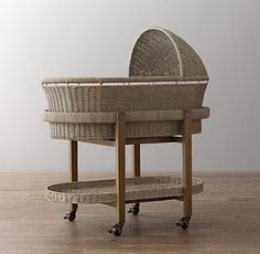 RH Baby & Child's Heirloom Wicker Bassinet & Mattress Set - Weathered Grey:Offering a safe haven for snoozing, our bassinet is woven of natural wicker around a sturdy metal frame, then given a light grey wash for a casual, gently weathered appearance. Co Sleeper Bassinet, Baby Bassinet, Best Crib Mattress, Mattress Sets, Restoration Hardware Furniture, Round Cribs, White Wicker, Kid Beds, Baby Decor