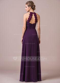 A-Line/Princess Halter Floor-Length Ruffle Lace Zipper Up Spaghetti Straps Sleeveless No Grape Spring Summer Fall General Plus Chiffon Bridesmaid Dress