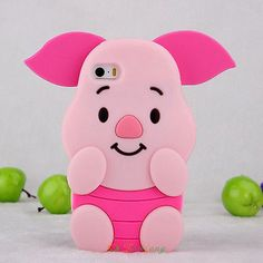 3D Cute Cartoon piglet Pig Silicone Case rubber cover skin for Apple iphone 5s