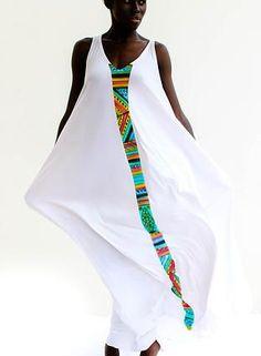 White with band of colour.  shopcaribbeanfashion by Mutumba.
