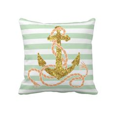 Girly Glitter Anchor Pillow