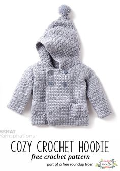 Crochet this cozy crochet hoodie jacket sweater for kids from my baby playtime essentials free pattern roundup!